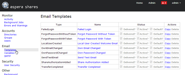 Creating Email Templates – Template Shares