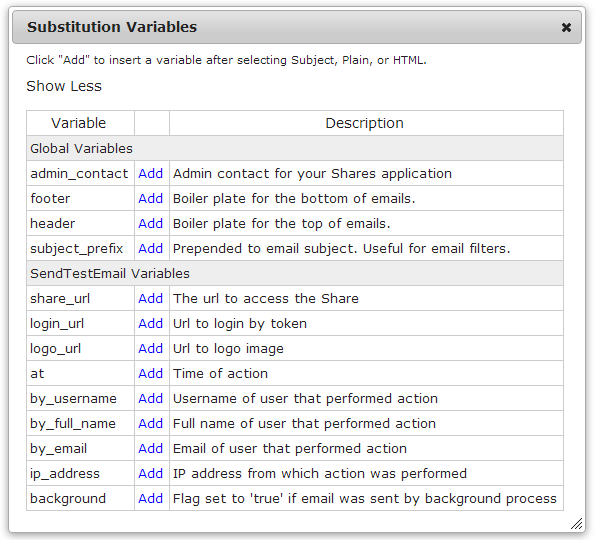 Creating email templates this opens the substitution variables dialog showing a list of variables that are available for this template to see descriptions of each variable pronofoot35fo Images
